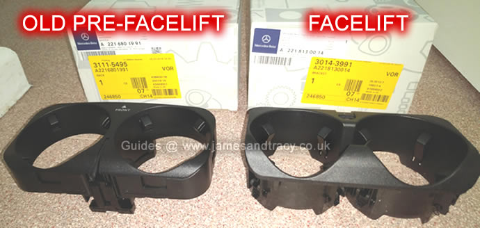 Mercedes S Class W221 cup holder types  @ www.jamesandtracy.co.uk