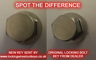 The replacement locking wheel nut key compared to the original - they are the same! @ www.jamesandtracy.co.uk
